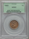 Indian Cents: , 1863 1C MS62 PCGS. PCGS Population (395/1778). NGC Census:(319/1306). Mintage: 49,840,000. Numismedia Wsl. Price for probl...