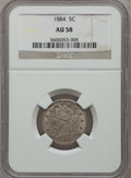 Liberty Nickels: , 1884 5C AU58 NGC. NGC Census: (23/338). PCGS Population (40/391).Mintage: 11,273,942. Numismedia Wsl. Price for problem fr...