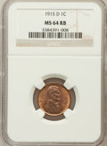 Lincoln Cents: , 1915-D 1C MS64 Red and Brown NGC. NGC Census: (128/65). PCGSPopulation (261/39). Mintage: 22,050,000. Numismedia Wsl. Pric...