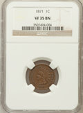 Indian Cents: , 1871 1C VF35 NGC. NGC Census: (18/379). PCGS Population (31/419).Mintage: 3,929,500. Numismedia Wsl. Price for problem fre...
