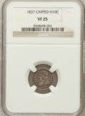 Bust Half Dimes, 1837 H10C Large 5C Capped VF25 NGC. NGC Census: (2/170). PCGSPopulation (2/159). Mintage: 871,000. Numismedia Wsl. Price f...