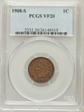 Indian Cents: , 1908-S 1C VF20 PCGS. PCGS Population (179/1781). NGC Census:(96/1255). Mintage: 1,115,000. Numismedia Wsl. Price for probl...