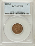 Indian Cents: , 1908-S 1C VF25 PCGS. PCGS Population (173/1608). NGC Census:(98/1157). Mintage: 1,115,000. Numismedia Wsl. Price for probl...