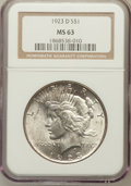 Peace Dollars: , 1923-D $1 MS63 NGC. NGC Census: (913/1258). PCGS Population(1487/1819). Mintage: 6,811,000. Numismedia Wsl. Price for prob...