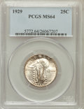 Standing Liberty Quarters: , 1929 25C MS64 PCGS. PCGS Population (252/139). NGC Census:(184/96). Mintage: 11,140,000. Numismedia Wsl. Price for problem...