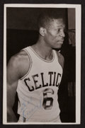 Basketball Collectibles:Photos, 1957 Bill Russell Dual Signed Postcard....