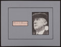 Baseball Collectibles:Others, Thomas Connolly Signed Cut Signature. ...