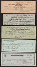 Autographs:Checks, Collection of Five Signed Baseball Player Checks. ...
