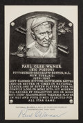 Baseball Collectibles:Others, Paul Waner Signed Black and White Hall of Fame Postcard. ...