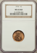 Lincoln Cents: , 1916 1C MS65 Red NGC. NGC Census: (126/33). PCGS Population(383/229). Mintage: 131,833,680. Numismedia Wsl. Price for prob...