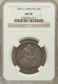 Seated Half Dollars: , 1855-O 50C Arrows AU50 NGC. NGC Census: (22/350). PCGS Population(43/321). Mintage: 3,688,000. Numismedia Wsl. Price for p...