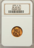 Lincoln Cents: , 1939-S 1C MS67 Red NGC. NGC Census: (872/0). PCGS Population(295/0). Mintage: 52,070,000. Numismedia Wsl. Price for proble...