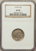 Buffalo Nickels: , 1919-S 5C XF40 NGC. NGC Census: (29/518). PCGS Population (42/708).Mintage: 7,521,000. Numismedia Wsl. Price for problem f...