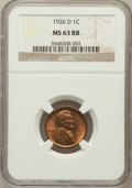 Lincoln Cents: , 1926-D 1C MS63 Red and Brown NGC. NGC Census: (56/109). PCGSPopulation (122/204). Mintage: 28,020,000. Numismedia Wsl. Pri...