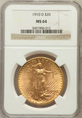 Saint-Gaudens Double Eagles: , 1910-D $20 MS64 NGC. NGC Census: (1740/486). PCGS Population(1925/1082). Mintage: 429,000. Numismedia Wsl. Price for probl...