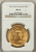Saint-Gaudens Double Eagles: , 1907 $20 Arabic Numerals MS62 NGC. NGC Census: (3131/5565). PCGSPopulation (2347/10486). Mintage: 361,667. Numismedia Wsl....