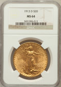 Saint-Gaudens Double Eagles: , 1913-D $20 MS64 NGC. NGC Census: (853/140). PCGS Population(1274/353). Mintage: 393,500. Numismedia Wsl. Price for problem...