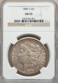 Morgan Dollars: , 1889-S $1 AU55 NGC. NGC Census: (270/4524). PCGS Population(309/7186). Mintage: 700,000. Numismedia Wsl. Price for problem...