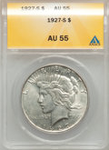 Peace Dollars: , 1927-S $1 AU55 ANACS. NGC Census: (128/3034). PCGS Population(153/4478). Mintage: 866,000. Numismedia Wsl. Price for probl...