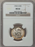 Washington Quarters: , 1953-S 25C MS66 NGC. NGC Census: (1111/270). PCGS Population(877/53). Mintage: 14,016,000. Numismedia Wsl. Price for probl...