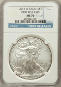Modern Bullion Coins, 2012-W $1 One Ounce Silver Eagle, First Releases MS70 NGC. NGCCensus: (0). PCGS Population (2642)....