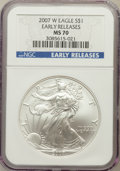 Modern Bullion Coins, 2007-W $1 One Ounce Silver Eagle Early Releases MS70 NGC. NGCCensus: (14078). PCGS Population (3688)....