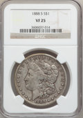Morgan Dollars: , 1888-S $1 VF25 NGC. NGC Census: (6/3696). PCGS Population(11/6321). Mintage: 657,000. Numismedia Wsl. Price for problemfr...