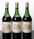 Red Bordeaux, Chateau Haut Brion 1959 . Pessac-Leognan. 1(6.1cm),1(6.3cm), 1(6.7cm), 3wasl, 3hcc. Bottle (3). ... (Total: 3 Btls. )