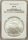 Modern Bullion Coins, 2007 $1 One Ounce Silver Eagle MS70 NGC. NGC Census: (5142). PCGSPopulation (532). Numismedia Wsl. Price for problem free...