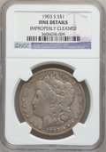 Morgan Dollars, 1903-S $1 -- Improperly Cleaned -- NGC Details. Fine. NGC Census:(76/1517). PCGS Population (118/2209). Mintage: 1,241,000...