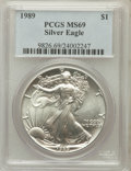 Modern Bullion Coins, 1989 $1 One Ounce Silver Eagle MS69 PCGS. PCGS Population (4771/0).NGC Census: (92020/346). Mintage: 5,203,327. Numismedia...