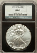 Modern Bullion Coins, 1998 $1 One Ounce Silver Eagle MS69 NGC. Ex: 25th AnniversaryHolder. NGC Census: (84056/266). PCGS Population (3323/17). ...