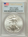 Modern Bullion Coins, 2012 $1 One Ounce Silver Eagle, First Strike MS69 PCGS. PCGSPopulation (6305/8858). ...