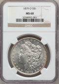 Morgan Dollars: , 1879-O $1 MS60 NGC. NGC Census: (378/5566). PCGS Population(230/8284). Mintage: 2,887,000. Numismedia Wsl. Price for probl...