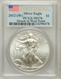 Modern Bullion Coins, 2012(-W) $1 One Ounce Silver Eagle, Struck at West Point Mint,First Strike MS70 PCGS. PCGS Population (12940). NGC Census:...