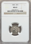 Three Cent Nickels: , 1865 3CN MS63 NGC. NGC Census: (373/683). PCGS Population(507/645). Mintage: 11,382,000. Numismedia Wsl. Price forproblem...