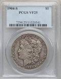 Morgan Dollars: , 1904-S $1 VF25 PCGS. PCGS Population (80/2385). NGC Census:(61/1508). Mintage: 2,304,000. Numismedia Wsl. Price for proble...