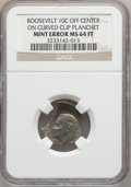 Errors, No Date 10C Roosevelt Dime --Off Center On Curved Clip Planchet--MS64 Full Torch NGC. PCGS Population (...