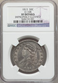 Bust Half Dollars: , 1813 50C -- Improperly Cleaned -- NGC Details. XF. O-108. NGCCensus: (31/622). PCGS Population (56/393). Mintage: 1,241,9...