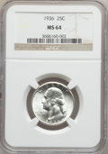 Washington Quarters: , 1936 25C MS64 NGC. NGC Census: (221/1202). PCGS Population(540/1582). Mintage: 41,303,836. Numismedia Wsl. Price for probl...