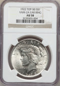 Peace Dollars, 1922 $1 Ear Ring AU58 NGC. Top-50, Vam-2a. NGC Census:(388/164530). PCGS Population (1000/108054). Mintage: 51,737,000.N...