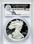 Modern Bullion Coins, 2011-W $1 One Ounce Silver Eagle Insert autographed By John M.Mercanti,12th Chief Engraver of the U.S. Mint, PR70 Deep C...