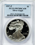 Modern Bullion Coins, 1997-P $1 One Ounce Silver Eagle PR70 Deep Cameo PCGS. PCGSPopulation (511). NGC Census: (9305). Numismedia Wsl. Price fo...