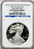 Modern Bullion Coins, 2007-W $1 One Ounce Silver Eagle Early Releases PR70 Ultra CameoNGC. NGC Census: (16280). PCGS Population (918)....