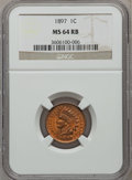 Indian Cents: , 1897 1C MS64 Red and Brown NGC. NGC Census: (168/105). PCGSPopulation (230/31). Mintage: 50,466,328. Numismedia Wsl. Price...
