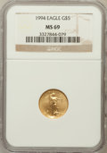 Modern Bullion Coins: , 1994 G$5 Tenth-Ounce Gold Eagle MS69 NGC. NGC Census: (1533/332).PCGS Population (882/7). Mintage: 206,380. Numismedia Wsl...