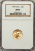 Modern Bullion Coins: , 1988 G$5 Tenth-Ounce Gold Eagle MS69 NGC. NGC Census: (2046/39).PCGS Population (939/2). Mintage: 159,500. Numismedia Wsl....