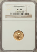 Modern Bullion Coins: , 1995 G$5 Tenth-Ounce Gold Eagle MS69 NGC. NGC Census: (1455/156).PCGS Population (825/9). Mintage: 223,025. Numismedia Wsl...