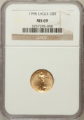 Modern Bullion Coins: , 1998 G$5 Tenth-Ounce Gold Eagle MS69 NGC. NGC Census: (5023/1735).PCGS Population (3232/119). Numismedia Wsl. Price for p...