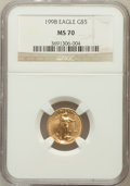 Modern Bullion Coins: , 1998 G$5 Tenth-Ounce Gold Eagle MS70 NGC. NGC Census: (1735). PCGSPopulation (119). Numismedia Wsl. Price for problem fre...